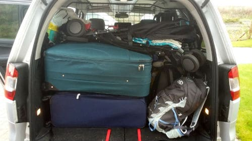 Car packed with bags