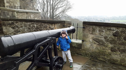 Boy at Cannons at Stirling Castle