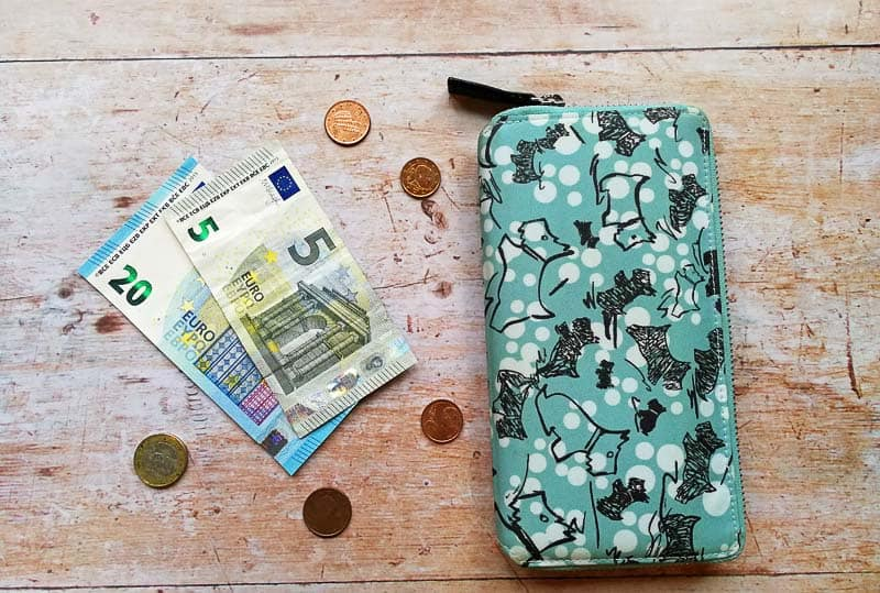 Money and purse laying on wooden background