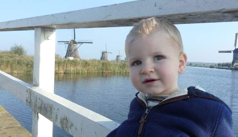 Young toddler at Kinderdijk Windmills