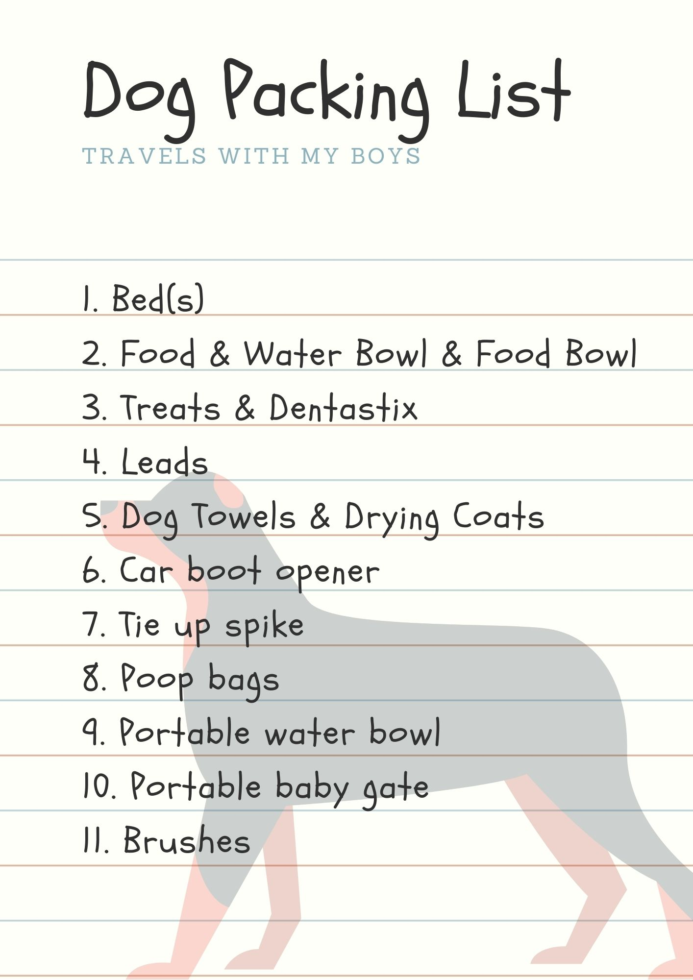 Dog Packing List - Free Download