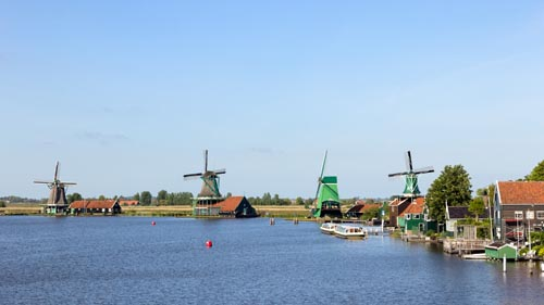 Row of windmills of the Zaanse Schans in Holland