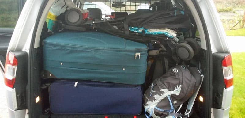 Suitcases in a car