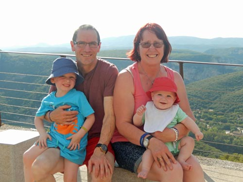 grandparents on holiday with their 2 grandchildren in the Ardeche