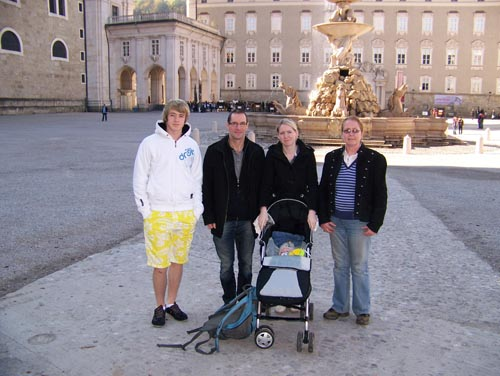 Family posing in Salzburg town centre