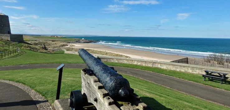 Looking out over Bamburgh beach