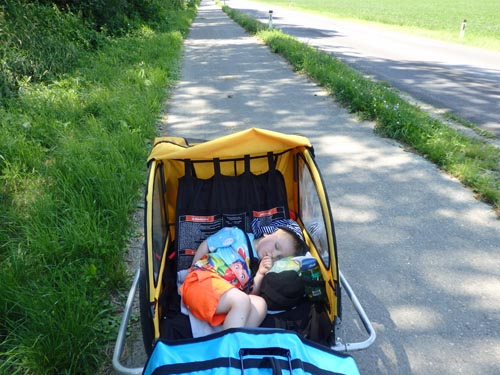 Toddler asleep in bike trailer