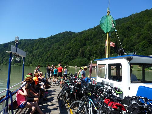 Bike ferry on the Danube