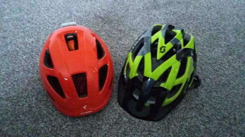Helmets for a family cycling holiday