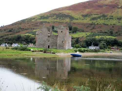 Reflection in water of Lochranza Castle