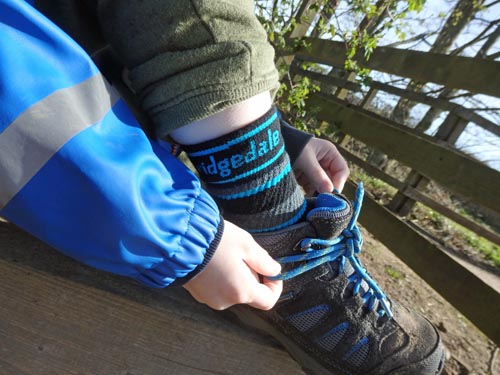 Bridgedale hiking socks worn by young child