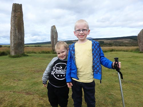 The boys posing at the Stone Circles on Machrie Moor