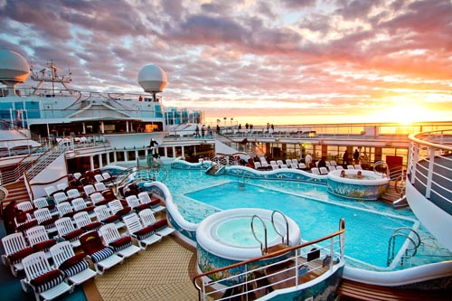 View of the top deck of cruise ship with pool