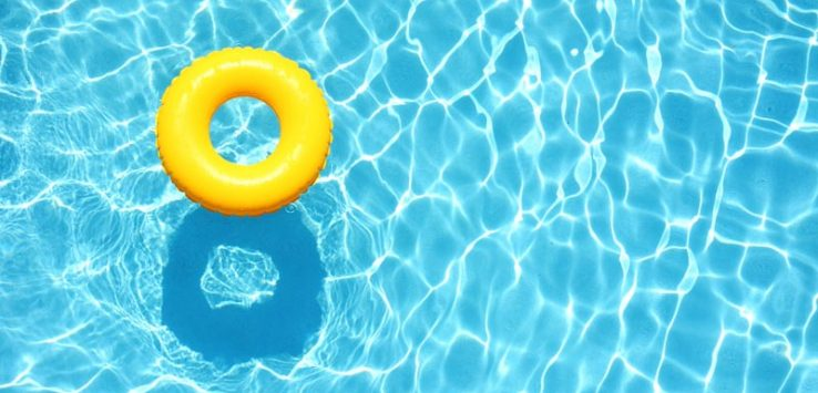 Rubber ring floating in a pool