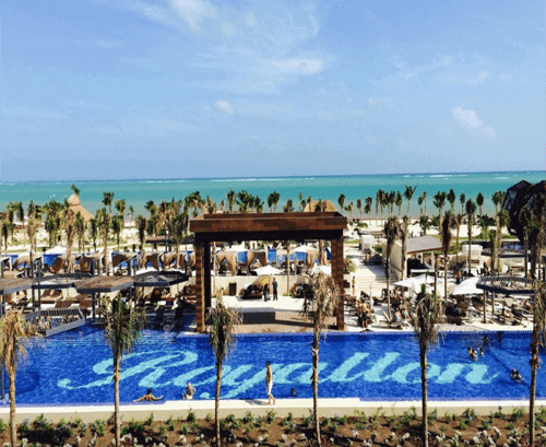 View of a swimming pool near the sea in Mexico