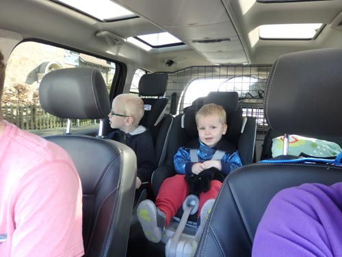 two children on a road trip