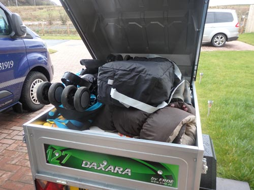 trailer full of family items for a road trip