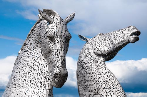 The Kelpies, 30-metre-high sculptures on the the Forth and Clyde Canal