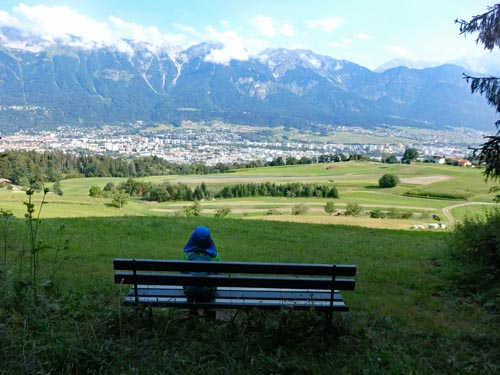 Sitting on a bench near Igls