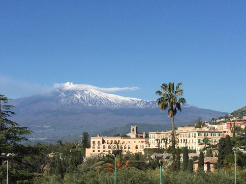 Mt Etna viewed from Taormina