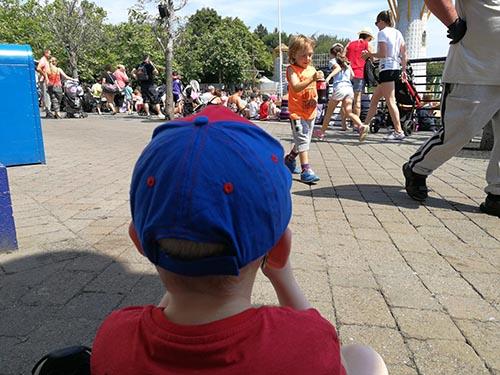 child watching a Legoland Show