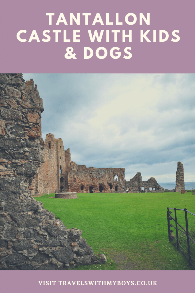 Visiting Tantallon Castle near North Berwick with kids and dogs.